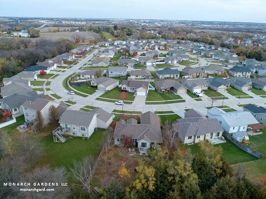drone view of Vogt's suburban garden